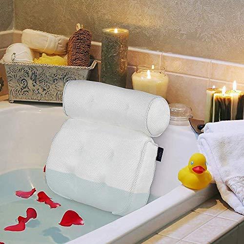 EXTSUD Cuscino per Vasca da Bagno con 6 Ventose Cuscino Poggiatesta Ergonomico per Vasca Idromassaggio Home Spa Relax per Schiena Spalle Collo 40 X 35 X 8 cm Bianco