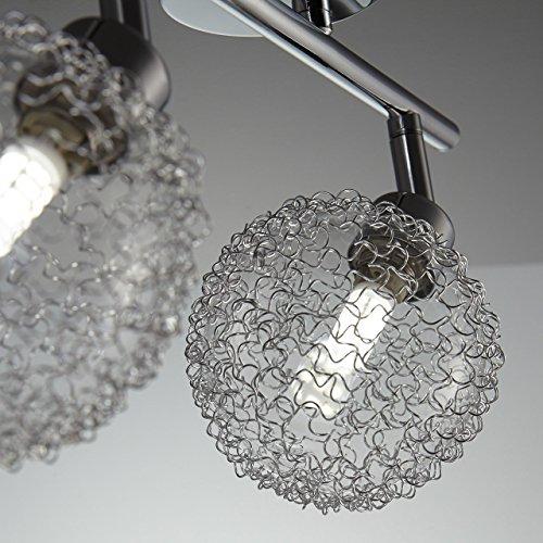 Faretti LED a soffitto orientabili lampadario moderno a braccia plafoniera da soffitto 2 luci vetro fantasia filo corpo metallo color cromato incl lampadine da 35W 230V G9 IP20