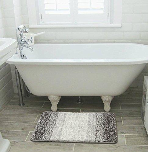 Furnily Tappetini per il bagno Microfibra Morbida Lavabile in Lavatrice Tappeto Antiscivolo 40x60 cm Grigio