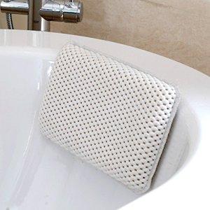 HANKEY Cuscino per Vasca da Bagno Premium con 8 Ventose  Poggiatesta in Materiale Morbido a Rete Impermeabile per Vasca da Bagno  Adatto a Qualsiasi Modello di Vasca  Colore Bianco