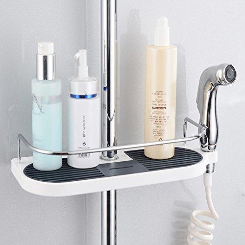 Hawsam Mensola per Doccia Senza Perforazione per Asta della Doccia  Supporto Conservatore Bagno per Shampoo Adatto per Asta della Doccia 19mm25mm 1Pezzi