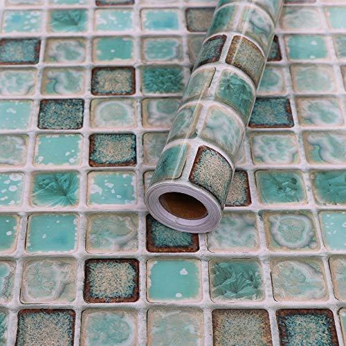 Hode Adesivi per Piastrelle per Bagno e Cucina Impermeabile PVC Autoadesivo DecorazioneMosaico Effetto 3D 40X200cmAdesivi per Piastrelle per Muro di Piastrelle Verde