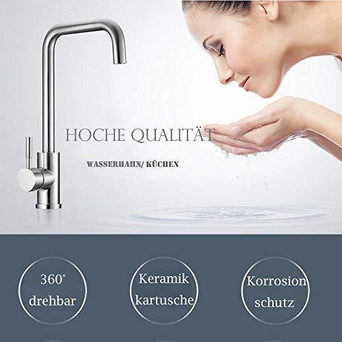 HOMELODY Rubinetto per Cucina Girevole a 360  Miscelatore Monocomando per Lavello Cucina Acciaio Inossidabile Rubinetto Alto Acqua Fredda e Calda