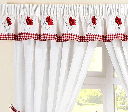 Homespace Direct Ricamato Floreale a Quadretti a Quadri Papaveri plissettate Cucina Tenda mantovana Rosso 136x 254cm Goccia