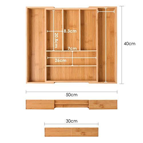 Homfa Portaposate da Cassetto Cucina in bamb Naturale Espandibile Vassoio Portaposate Ceppo PortaColtelli e Porta Utensili da Cucina 1