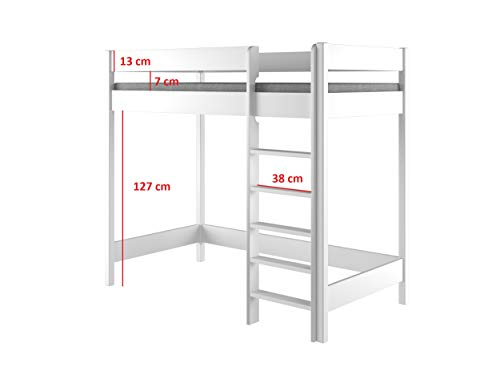 Hubi Loft Bunk Bed letto a soppalco con entrata anteriore Legno White 180x80x160