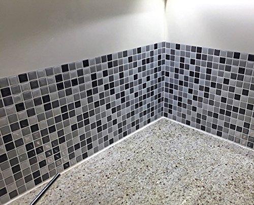 Infactory  Decorazione da parete autoadesiva motivo piastrella a mosaico 3D 26 x 26 cm set da 3 pezzi