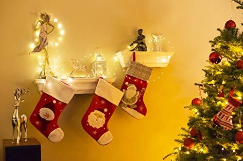 Kolpop Stringa Luci LED a Batteria 4 Pezzi Catena Luminosa 5m 50 LED con Filo Rame Ghirlanda Luminosa Lucine LED Decorative per Camere da Letto Giardino Casa Feste Natale Matrimonio Bianco Caldo