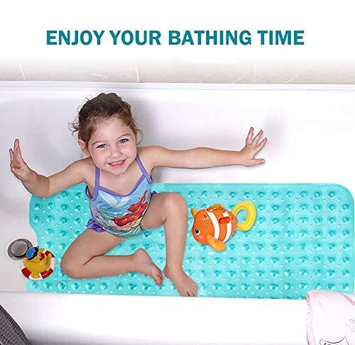 Ksnrang Tappetino per il bagno Extra Lungo Tappetini vasca da Bagno doccia Antiscivolo con drenaggio e ventose lavabile in lavatrice antibatterico grigio 100x40 cm