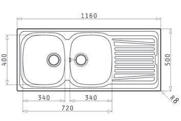 Lavello PYRAMIS 116x50 in acciaio INOX lavandino 2 vasche SINISTRA con gocciolatoio lavabo  PILETTA 35