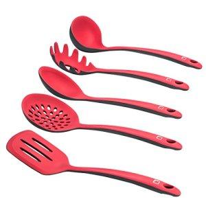 LEVIVO SET331400000210 Set da 5 per Cucina in Silicone RossoGrigio 38x28x8 cm