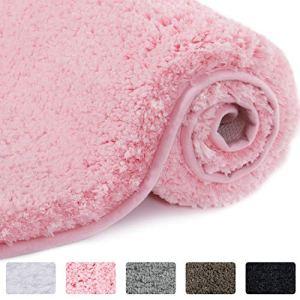 Lifewit Tappetino da Bagno Rosa in Microfibra Soft Shag Super Assorbente in Gomma Antiscivolo Tappeto da Bagno Spessa Lavabile in Lavatrice 80 x 50 x 4 cm