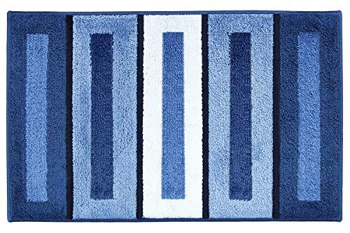 Lonior Tappetino da Bagno Antiscivolo Tappetini per Il Bagno in Microfibra Tappeto da Bagno Doccia Lavabile in Lavatrice Blu 80x50cm