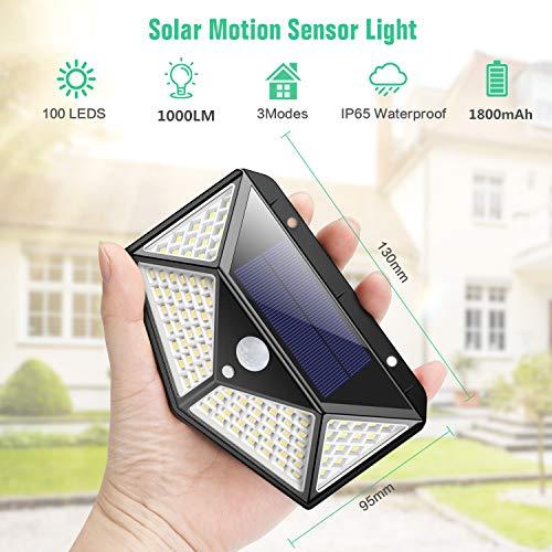 Luce Solare LED Esterno270Angolo Illuminazione2200mAh100LED Lampada Solare con Sensore di Movimento Luci Esterno Energia Solare 3 modalit Lampade Solari Impermeabile per GiardinoParete 2 Pezzi