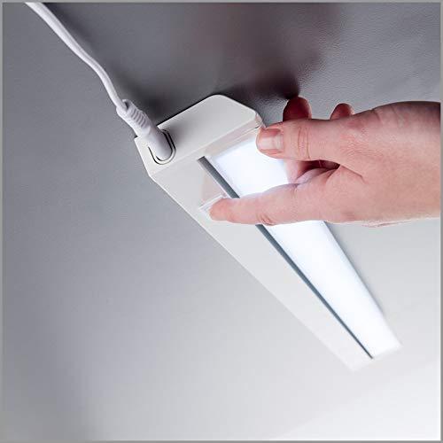 Luce sotto pensile cucina LED luce bianca neutra 4000K lampada moderna per lilluminazione da interno interruttore on off corpo plastica color bianco include LED integrati da 85W 230V IP20