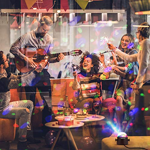 Luci Discoteca LED OMERIL USB Alimentata Palla da Discoteca con 4M Cavo e Telecomando Musica Attivata Luci Discoteca con Ventosa per Natale Bar Festa Club Car Xmas Regalo per Bambini ecc