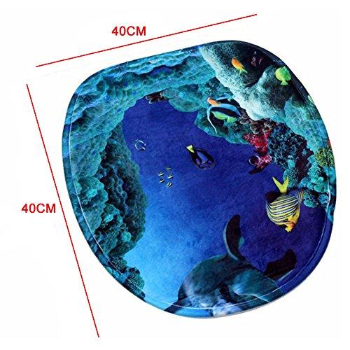 Mingpinhui tappetino da bagno tappetino per bagno Set 3pezzi antiscivolo da bagno lavabile coprisedile WC tappetino Dolphins in the Ocean