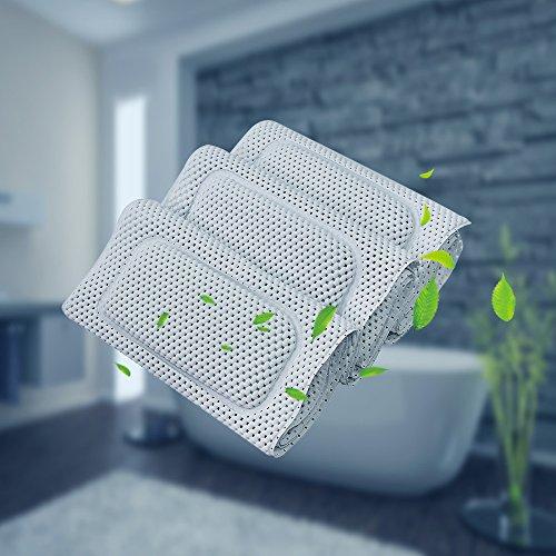 Mrdo Bianco Morbido Tappetino per Vasca da Bagno con Cuscino Antiscivolo Antibatterico Foamed PVC 36 x 125 cm