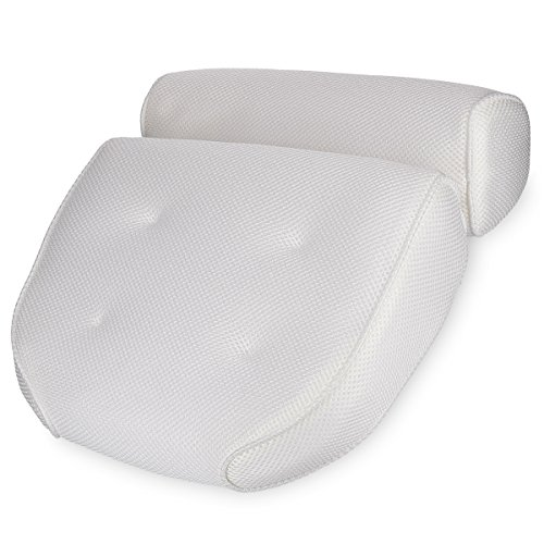 Navaris Cuscino Vasca da Bagno ExtraComfort  Poggiatesta Air Mesh con Ventose  Relax per Schiena Spalle Collo  OekoTex Standard 100  Bianco