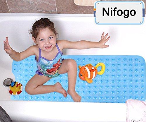 Nifogo Tappetino Bagno Tappetino Antiscivolo da Doccia e da Vasca di Bagno Antibatterico Resistente alla Muffa Superior Grip con Ventose 100 x 40cm Extra Lungo Blu