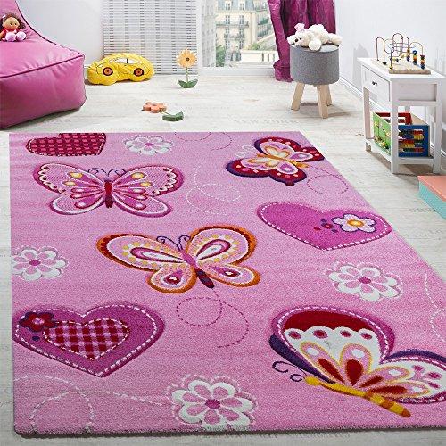 Paco Home Tappeto per Cameretta Tappeto per Bambini Motivo con Farfalla con Taglio Sagomato Rosa Dimensione80x150 cm