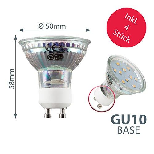 Plafoniera LED da soffitto include 4 lampadine GU10 3W luce calda 25cm 1 faretto fisso 3 inclinabili lampada moderna per lilluminazione da interno metallo e vetro color nickel opaco 230V IP20
