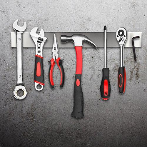 Portacoltelli magnetico da parete in acciaio inox con doppia barra per coltelli utensili da cucina Bello 50 cm In acciaio inox 304
