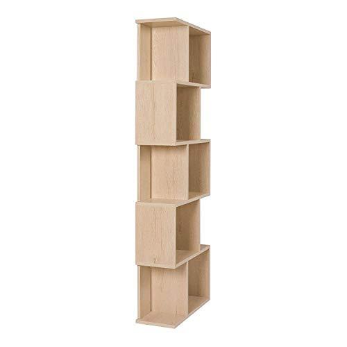 Rebecca Mobili Scaffale Moderno libreria di Legno 5 Ripiani in Stile Moderno Beige Arredamento Soggiorno casa Ufficio  Misure 1725 x 60 x 24 cm HxLxP