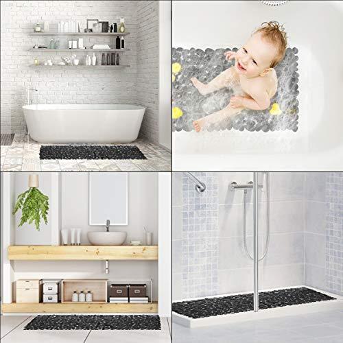 RenFox Tappetino per Doccia Antiscivolo Tappetini per Il Bagno Tappetino da Bagno Antimuffa con a Ventosa Ciottolo Nero Bath Shower Mat Lungo 88x40cm