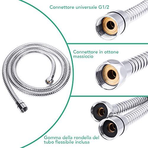 Rovtop Soffione Doccia  15M Flessibile Doccia 5 Funzioni Getti Doccia Soffione Multifunzionale ad Alta Pressione con Teflon e Guarnizioni