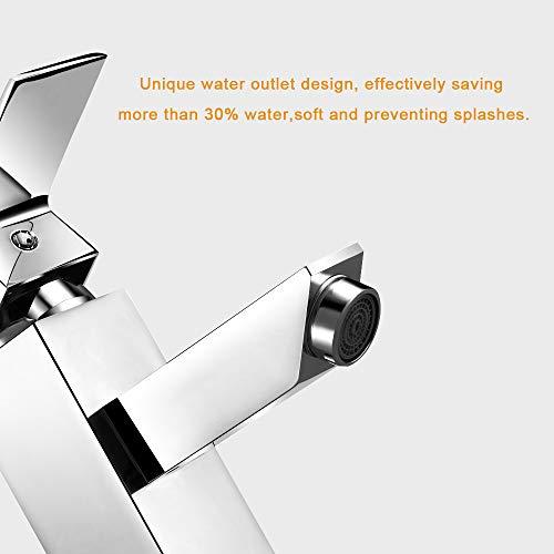Rubinetti per il lavandinoPONTEROY rubinetto da bagno con mixer e singola maniglia anti perdita in ottone e cromo solido moderno con design migliorato e tubo per il lavandino per acqua calda e fredda