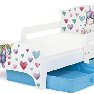 Smart Letto Lettino per Bambini in Legno Cassetto Cassettone e Materasso Magnifiche Stampe Mobili per Bambini Attrezzatura Stanza per Bambino Dimensioni 140x70 Unicorno