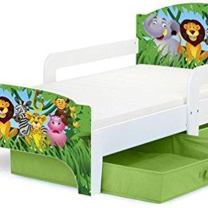 Smart Letto Lettino Per Bambini In Legno Cassetto Cassettone e Materasso Magnifiche Stampe Mobili Per Bambini Attrezzatura Stanza Per Bambino Dimensioni 140x70 Zoo Animali