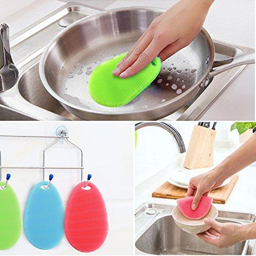 Spugna di silicone Gifort Food Grade multifunzione antibatterico Silicone Scrubber Spugna Spazzola per la pulizia Cucina e bagno 3 pezzi di goccia dacqua