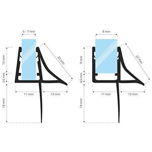 STEIGNER Guarnizione di Ricambio 80 cm UK09 per Vetri di Spessore 6 mm  7 mm  8 mm Guarnizione Ripara dalle Infaltrazioni dacqua