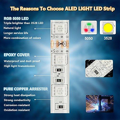 Striscia LED RGB 10M Musica ALED LIGHT LED Strip Bluetooth RGB Striscia IP65 Impermeabile 12V Striscia Bluetooth  24 Tasti Telecomando Nastri Led Smartphone Android e IOS Controllato da APP