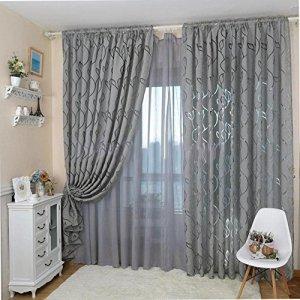Tangbasi  Tende in tessuto voile per porte e finestre motivo a foglie decorazione per camera da letto Gray taglia unica