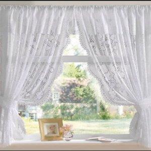 The Textile House Andrea  Tenda in tulle lucido motivo jacquard con fascetta e mantovana colori bianco o panna White 100 x 63