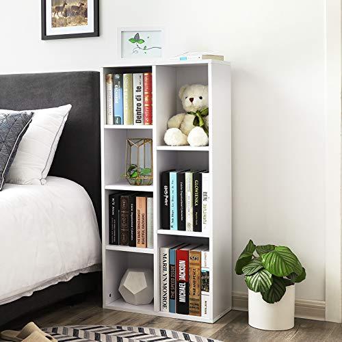 VASAGLE Libreria di Legno con 7 Ripiani Portadocumenti e Libreria Autoportante Stand TV Scaffale da Esposizione 50 x 24 x 106 cm L x P x A Bianco LBC27WT