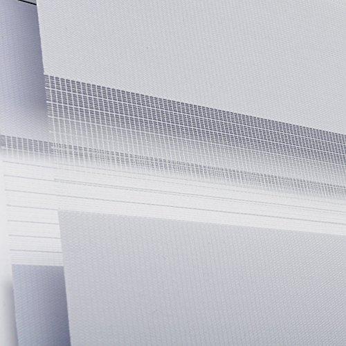 WOLTU VH5550gr Tenda a Rullo Doppio Oscurante per Interni Senza Foratura Avvolgibile con Morsetto Laterale Klemmfix per Finestre Porte 75x150cm Grigio