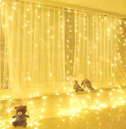 Yizhet Luci per Tende 3x3m 300 LED Tenda con Catena di Luci Tenda luminosa con Telecomando 8 Modalit Stringa Luminosa per Finestra Impermeabilit Decorazione per NataleGiardinoBianco Caldo