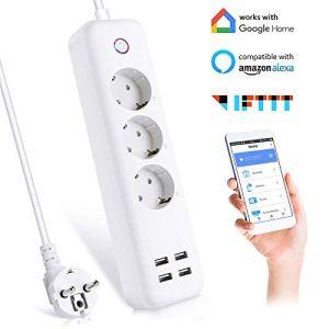 Ciabatta WiFi Intelligente Multipresa a 3 AC 4 USB Controllo Remoto Alexa FTTT Google con La Funzione di Temporizzazione con Android IOS Wifi 24 GHz Multipresa