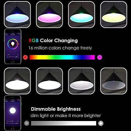 Lampadina Intelligente LOFTer Lampadina Smart WiFi E27 RGB 7W Lavora con Echo AlexaGoogle Home Luce Regolabile Compatibile per Dispositivo iOS Android App Controllata Regalo San Valentino