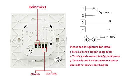 Termostato WiFi per Caldaia a GasAcquaTermostato intelligente Schermo LCDVA Schermo Touch Button Retroilluminato Programmabile con Alexa Google Home e Telefono APPRotondoBianco
