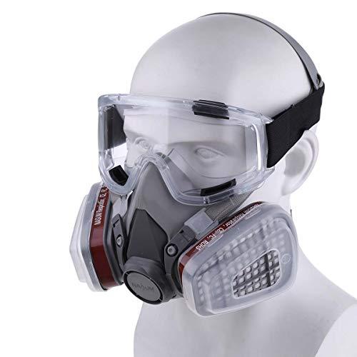 NASUM Maschera antipolvere con 2 filtri  2 scatole  8 cotoniocchiali contro polvereparticellevaporegas per artigianivernici ecc