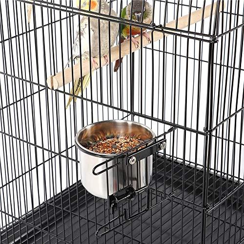 Yaheetech Gabbia Voliera per Uccelli Pappagalli in Metallo e Legno con Piedistallo Carrello Nera 59 x 59 x 1395 cm