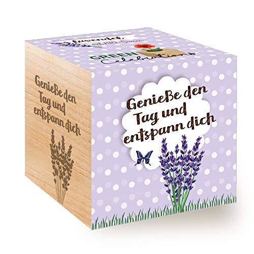 Feel Green Celebrations Ecocube Semi biologici di Lavanda cubo di Legno con Incisione Laser Geniee den Tag und entspann Dich Idea Regalo sostenibile Set di Coltivazione Made in Austria