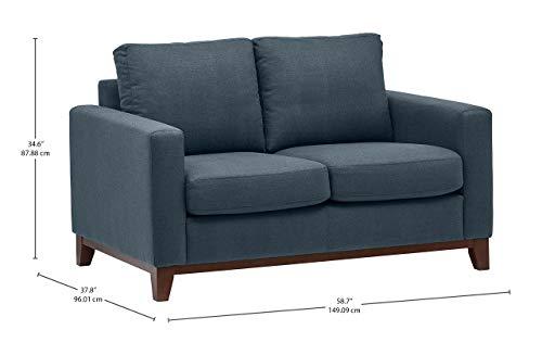 Marchio Amazon Rivet divanetto amorino con base esposta in legno modello North End larghezza 150 cm denim