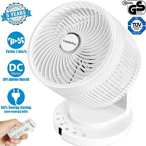 OFFERTA DEL GIORNO LeaderPro 2020 DC Ventilatore con Telecomando Turbo Tecnologia a Ciclone Silenzioso per la Circolazione dellaria 8 Velocit74ms Turbo Vento 25 dB Ventilatore Silenzioso