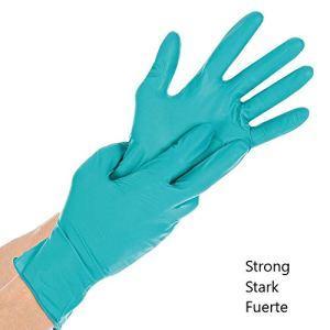 100 X robusti guanti in nitrile  Extra Safe guanti monouso senza polvere senza lattice grado medico AQL 15 resistente officina di pulizia giardinaggio Tattooist Industrie Verde L 89